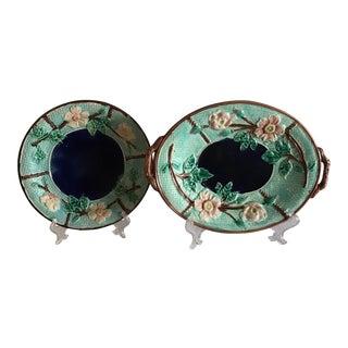Antique English Majolica Platters - a Pair