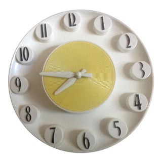 Mid-Century 1950's Yellow Wall Clock
