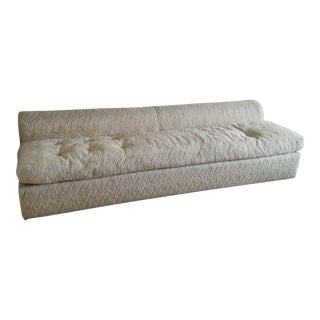 1960's Marge Carson Chevron Beige Woven Tufted Couch