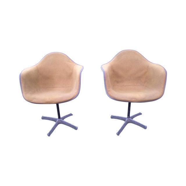 Image of Eames Swivel Fiberglass Arm Chair - Pair