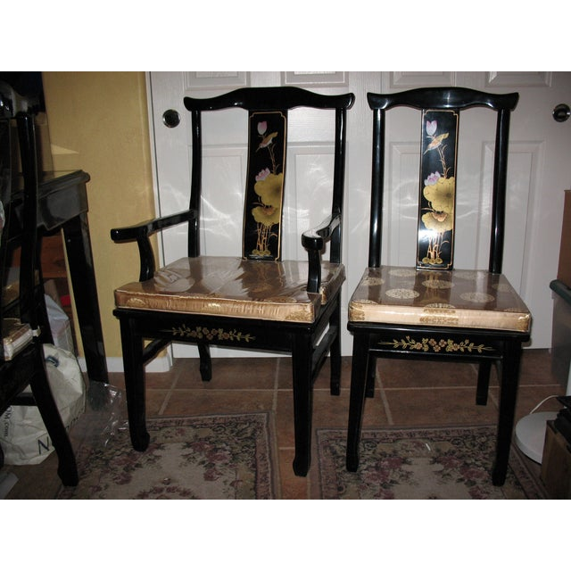 Hand Painted Black Lacquer Dining Set