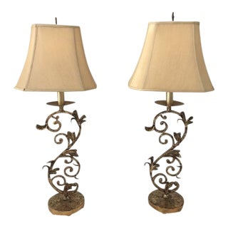 French Style Iron Lamps - A Pair