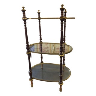 Empire Brass & Mahogany Antique Bar Side Table