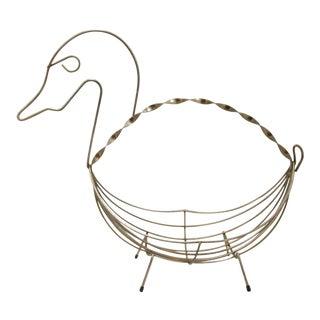 Mid-Century Brass Wire Duck Basket