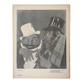 Antique French Lithograph, Satire of Bars/Imbibing