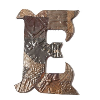 Ozark Folk Art Antique Tin Letter E