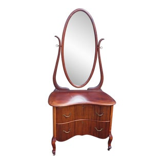 Antique Solid Mahogany Serpentine Front Vanity