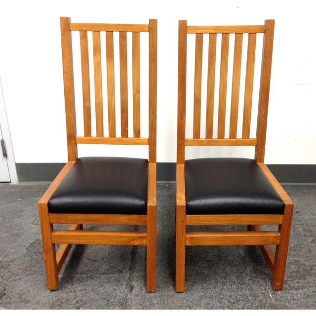 Custom Designed Teak Chairs - A Pair - Image 3 of 7