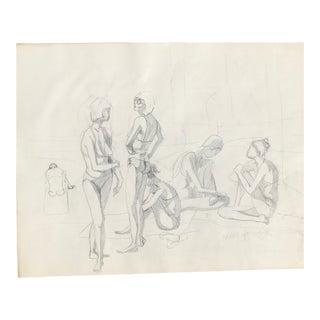 Original Midcentury California Bikini Sketch