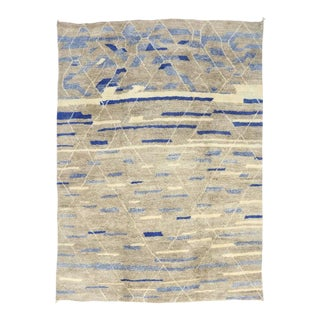 Contemporary Blue and Gray Moroccan Rug with Abstract Tribal Design