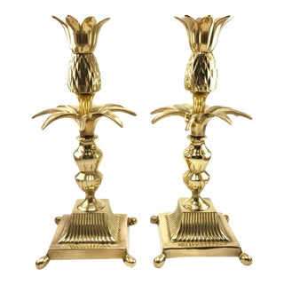 Hollywood Regency Brass Pineapple Palm Candlesticks - A pair