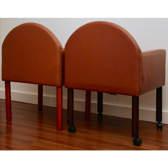 Postmodern Leather Chairs, Set of 2 - Image 3 of 11