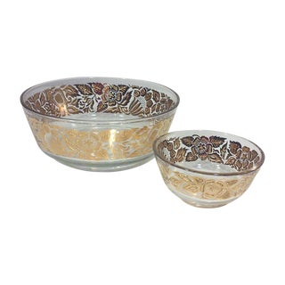 Georges Briard Gilded Floral Serving Bowls - Pair