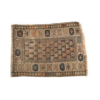 "Antique Caucasian Square Rug - 3'2"" x 4'2"""
