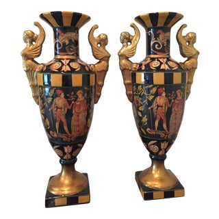 Neoclassical Style Ceramic Urns- A Pair