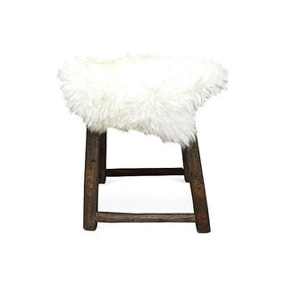 Antique Stool with Sheepskin Topper