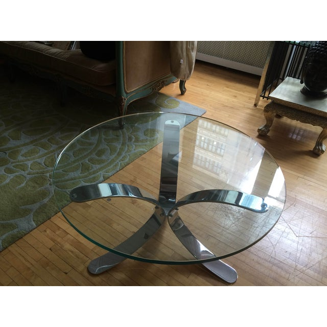 Chrome Base Circle Glass Top Coffee Table - Image 8 of 11