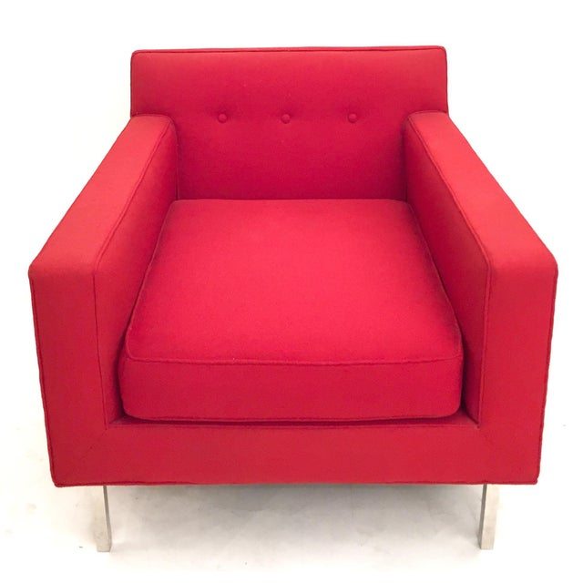 Upholstered Red Dunbar Arm Chair - Image 4 of 6