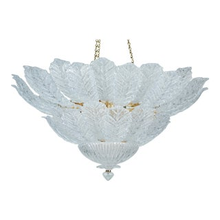 Elegance Chandelier with Foliate Design Glass featuring a Gold Plated Fixture