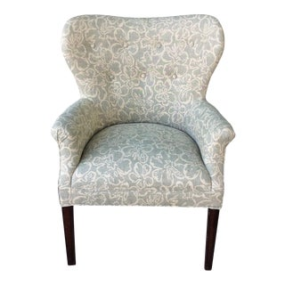 Cream Floral Wingback Chair