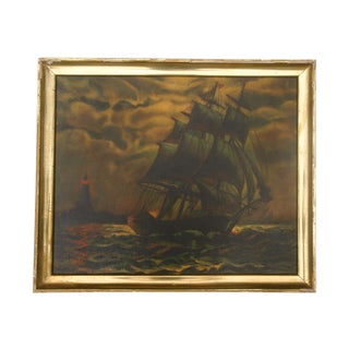 Antique Sailing Ship Oil Painting
