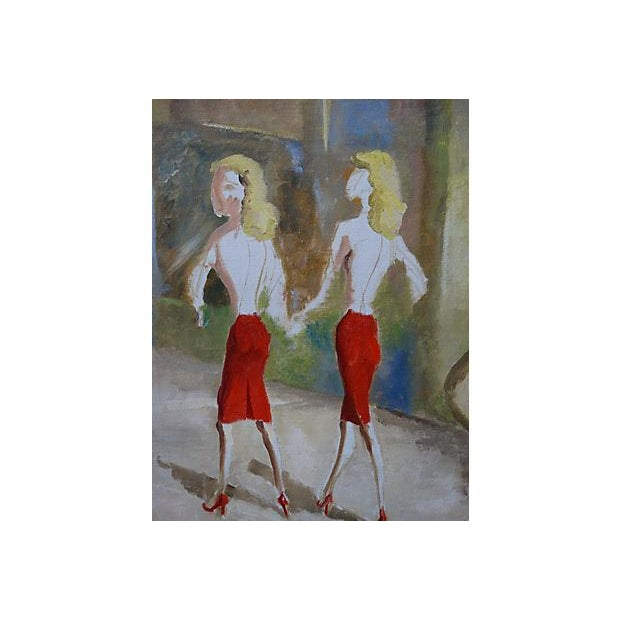 Mid-Century WWII 40's Figural Abstract Painting - Image 2 of 4