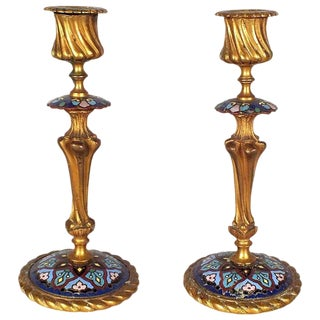Antique French Bronze Champleve Candlesticks - A Pair
