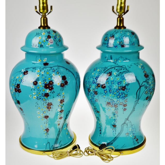 Vintage Large Scale Aquamarine Blue Hand Painted Asian Ginger Jar Lamps - A Pair - Image 7 of 11