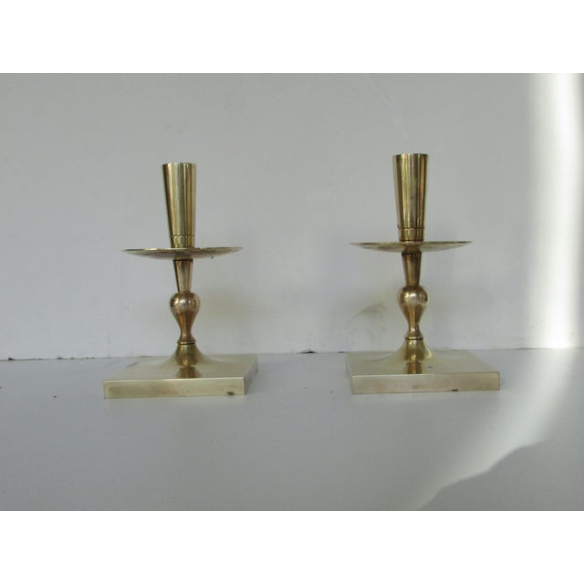 Image of Tommi Parzinger Brass Candlesticks - Pair