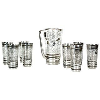 Art Deco Cocktail Set With Silver Overlay