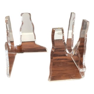 Lucite Lion in Frost Style Table Bases - a Pair