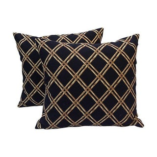 Black & Tan Bamboo Lattice Pillows - A Pair