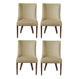 Breakfast Room Chairs in Trellised Chenille - Set of 4