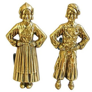 1940s Brass Dutch Fireplace Andirons - Pair