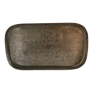 Vintage Silver Etched Serving Tray