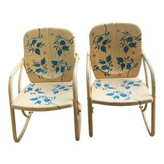 Vintage Hand-Painted Metal Rocking Chairs - A Pair