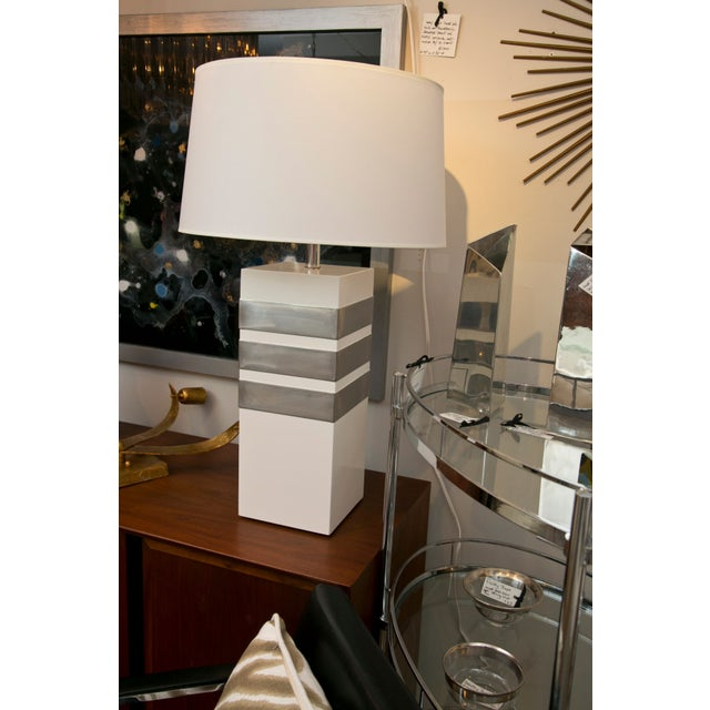 Mid-Century Modern Silver Banded Table Lamp - Image 6 of 6