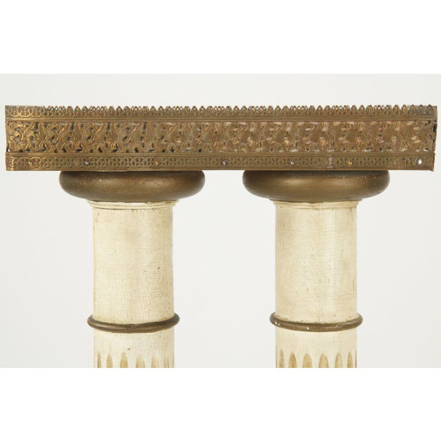 Vintage French Louis XVI Style Marble Top Twin Column Pedestal - Image 6 of 10