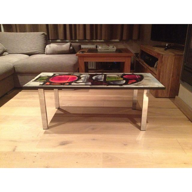 Image of 1960's J Belarti Chrome Tiled Top Coffee Table