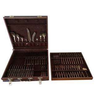 Rosewood & Brass Midcentury Flatware Set in Case