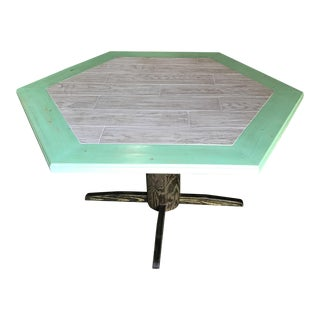 Distressed Green and Gray Tile Hexagon Table