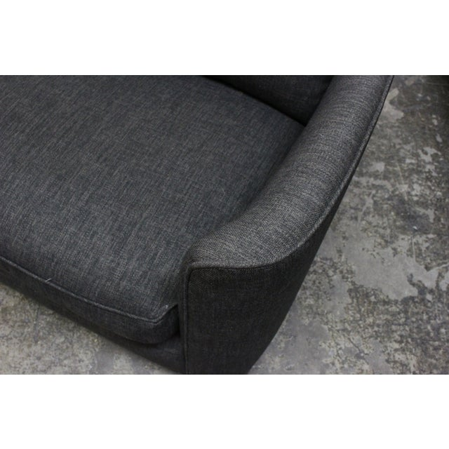 Image of Henredon Curved Arm Charcoal Gray Sofa