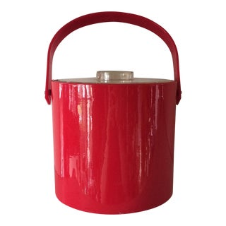 Vintage Red Ice Bucket & Tongs