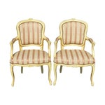 Image of French Provincial Yellow & Gold Armchairs - A Pair