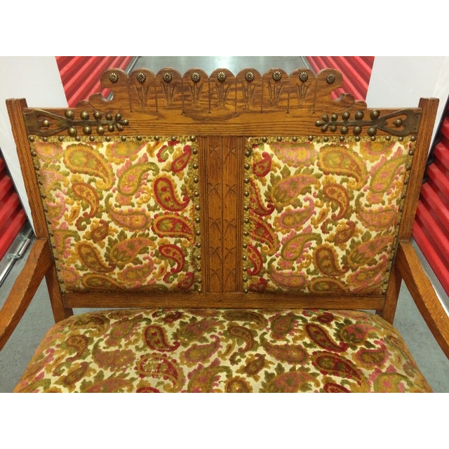 Antique Carved Wood Settee - Image 7 of 8