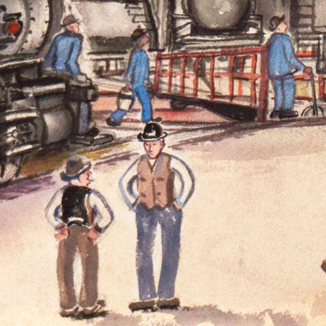 1970s Railway Depot Watercolor Painting - Image 4 of 6