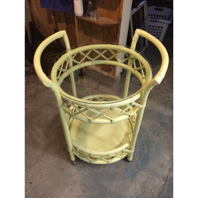 Vintage Cream Rattan Bar Cart - Image 3 of 7