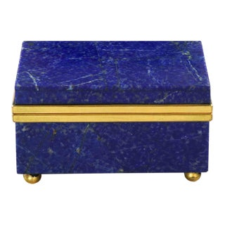 Early 20th Century Lapis Lazuli Miniature Gilt Bronze Jewelry Box