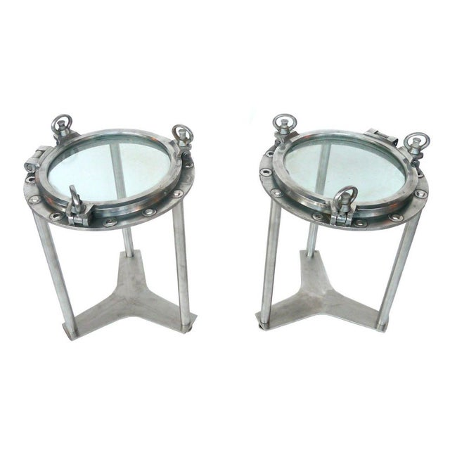 Custom-Made Porthole Side Tables - A Pair - Image 1 of 4