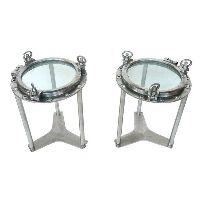 Image of Custom-Made Porthole Side Tables - A Pair